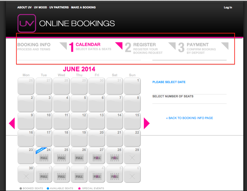 UV Booking Homepage